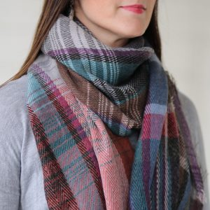 Plaid Scarf with Fringe
